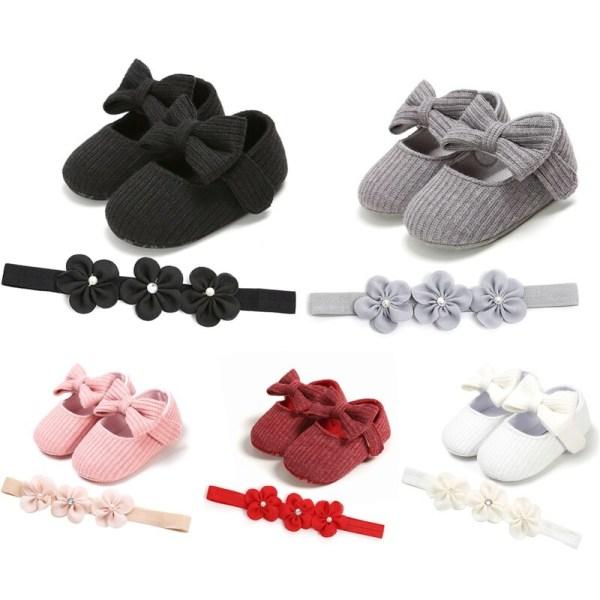 Baby bowknot soft bottom  princess shoes + headband 2PCS SET A4 0-6Months