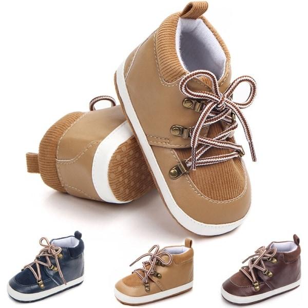 Baby Boys klassiska PU läder snörning Prewalkers skor