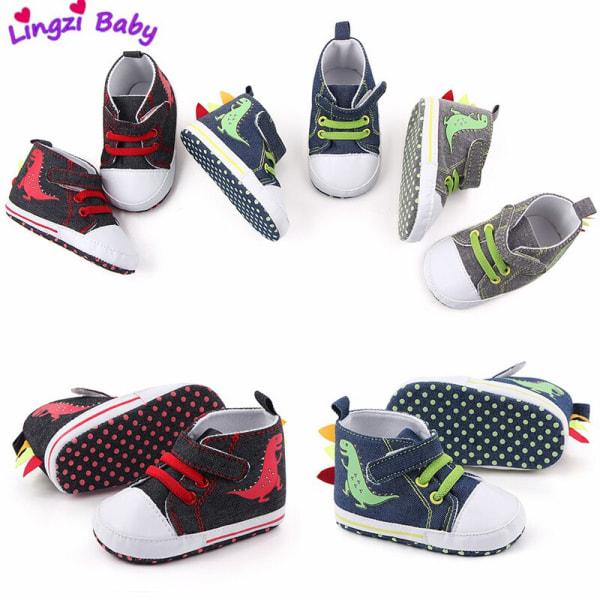 Baby cartoon dinosaur velcro non-slip soft sole toddler shoes GREY 6-9 Months