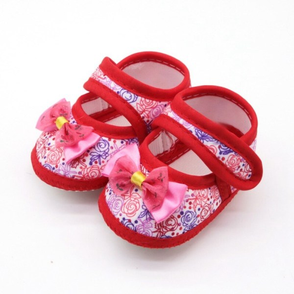 Baby Girl Anti-Slip Floral Bow Casual Sneakers Toddler shoes Blue 0-6Months