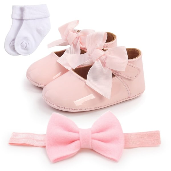 Baby Girl Bowknot Sweet Step Shoes + Headband + Socks 3pcs Set P 12-18Months