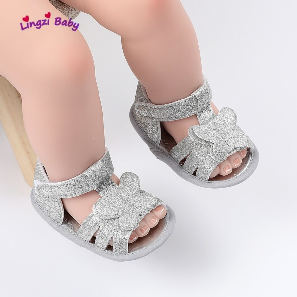 baby girl cute butterfly soft-soled non-slip toddler sandals Gold 0-6Months