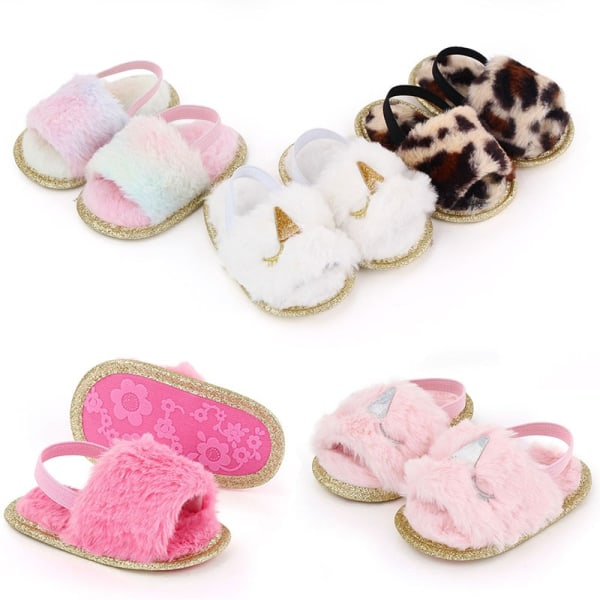 Baby Girl fleece sandals  soft-soled toddler shoes W 0-6Months