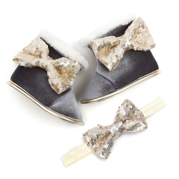Baby Girl Sequin Bow Princess Boots Shoes+Headband 2pcs Set Gray 0-6Months