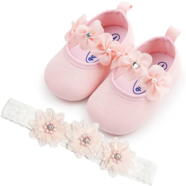 Baby girl Sweet flower princess toddler shoes+headband 2pcs set Pink 0-6Months