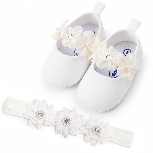 Baby girl Sweet flower princess toddler shoes+headband 2pcs set White 0-6Months