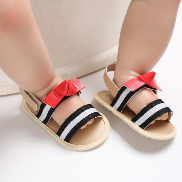 Baby flickor bomull randig rosett söta sandaler mjuk botten
