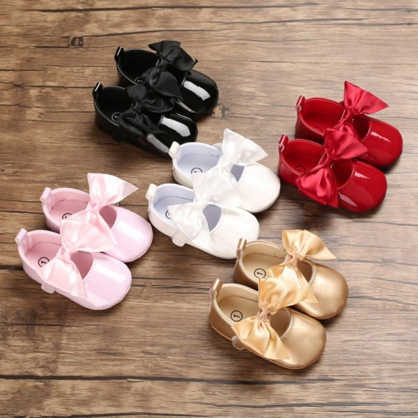 Baby Girls PU Big bow sweet and cute princess toddler shoes P 0-6Months
