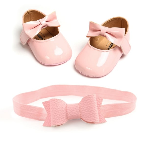 Baby girls sweet bowknot Princess shoes + headband 2pcs set B 0-6Months