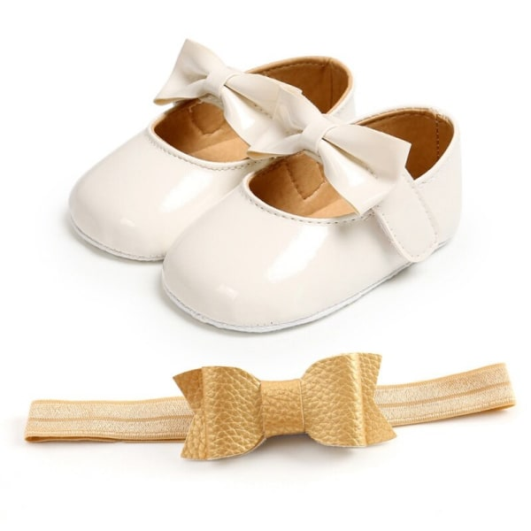 Baby girls sweet bowknot Princess shoes + headband 2pcs set W 0-6Months