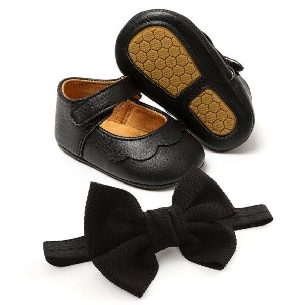 Baby PU all-match princess toddler shoes + headband 2pcs set B 13-18Months