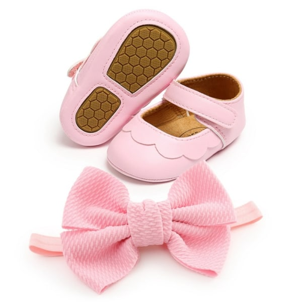 Baby PU all-match princess toddler shoes + headband 2pcs set P 7-12Months