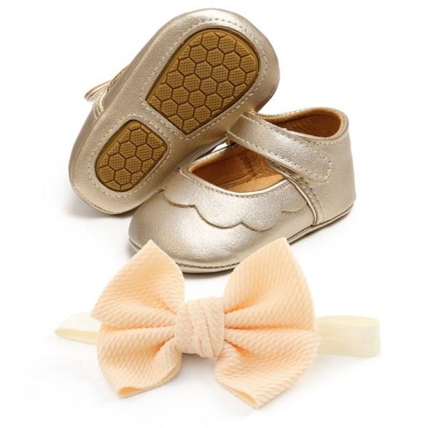 Baby PU all-match princess toddler shoes + headband 2pcs set TG 0-6Months