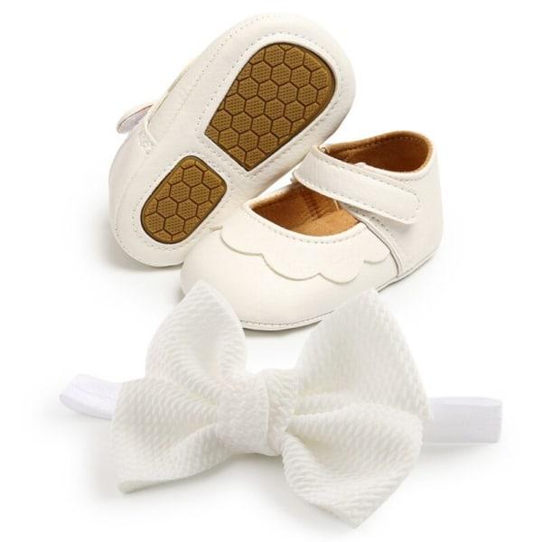 Baby PU all-match princess toddler shoes + headband 2pcs set W 0-6Months