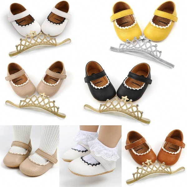 Baby PU mjuka sulor skor + Princess hårband