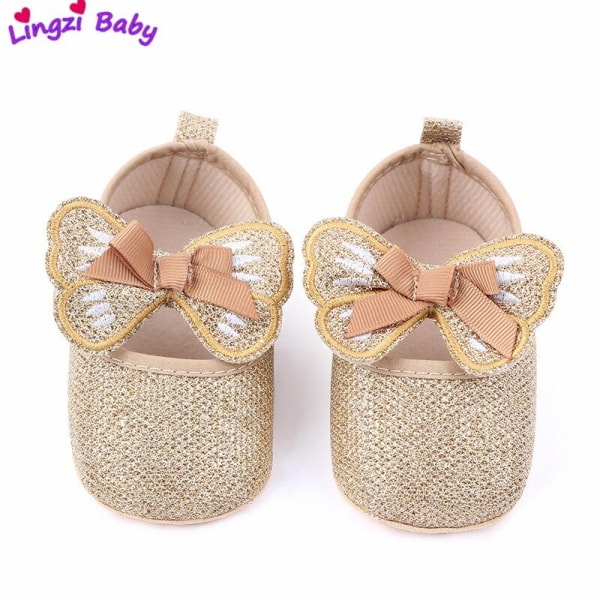 Baby sequined butterfly soft-soled princess toddler shoes 0-6m