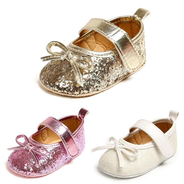 Baby glänsande PU Bow Princess småbarnsskor