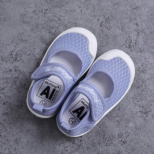 baby single shoes square mouth casual  toddler shoes Blue 2-3Y