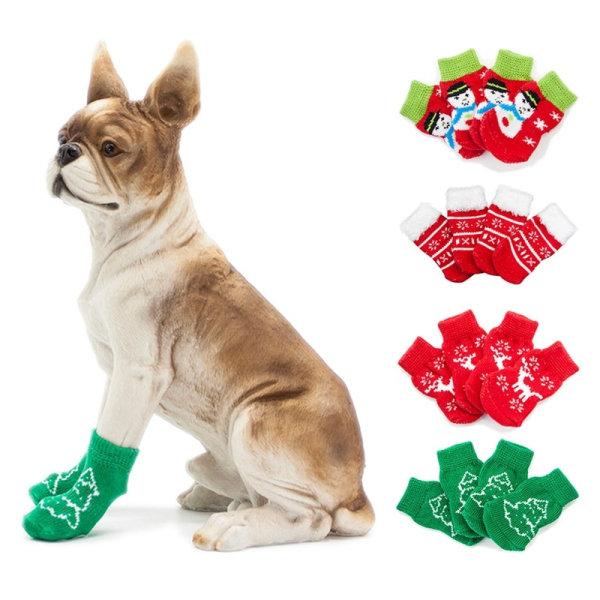 Sällskapsdjur Hundstrumpor Vinter Varm stickad bomullsskydd
