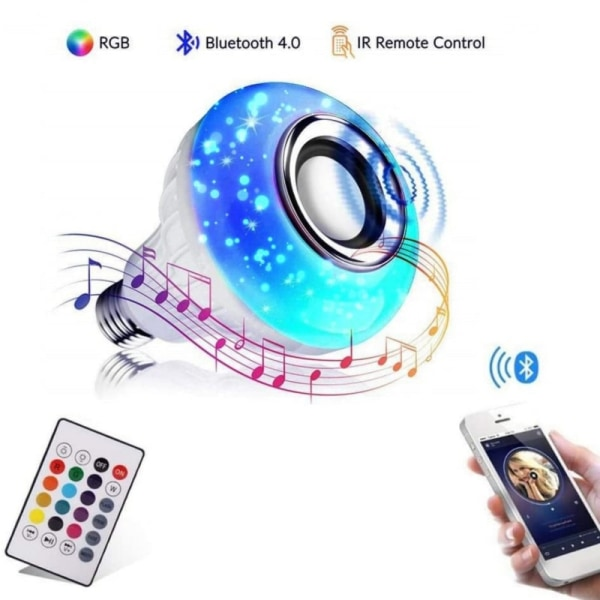 E27 RGB White Bluetooth Speaker LED Bulb Light Music Playing