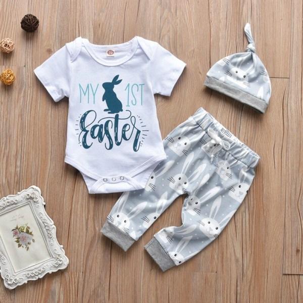 Påsk Babykläder Set Kaninmönster Kortärmad + Byxor + Hatt