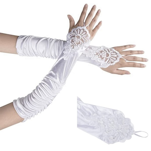 Elbow Satin Gloves For Women Opera Party Dress Accessories Black