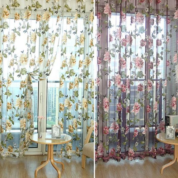 Blommig Voile-fönsterridåpanel Sheer Drape Scarf Valances