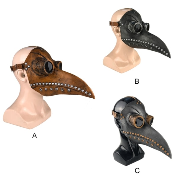 Halloween Plague Steam Doctor Mask Cosplay Leather Props black+copper
