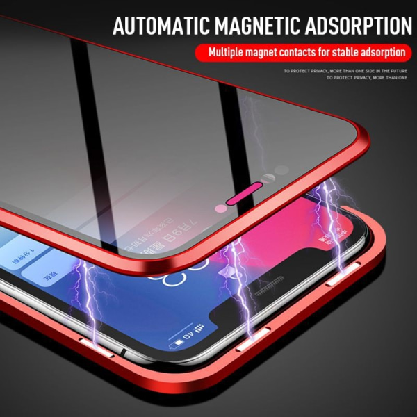 Anti-peep Magnetic double-sided glass phone case for iphone X XS Silver iphone X XS