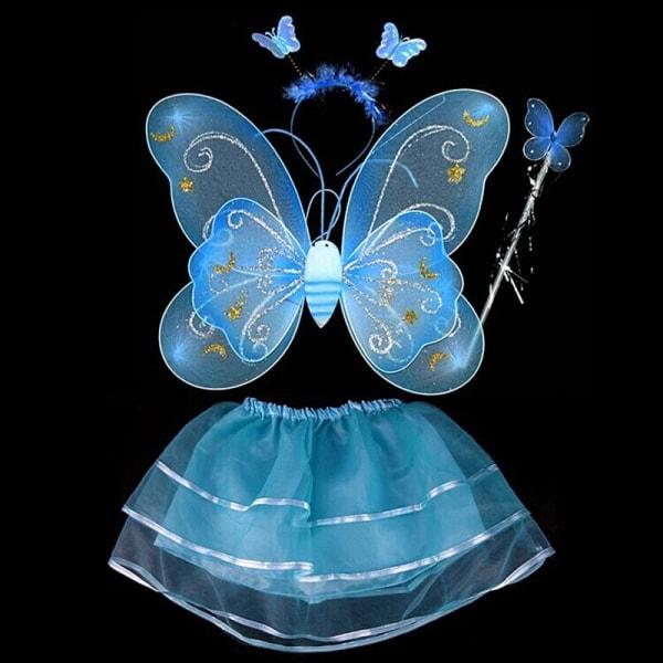 Kids Butterfly Wing Wand Headband Tutu Kjol Party Kostym