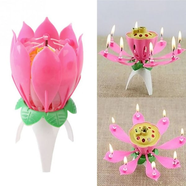 Lotus Flower Music Candles födelsedagstårta dekorativ