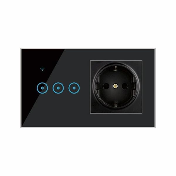Multifunktionell integrerad väggpanel WiFi Smart Switch Socket