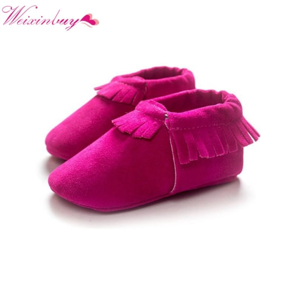 Newborn Baby Frosted texture tassel handmade soft bottom shoes I 0-6Months