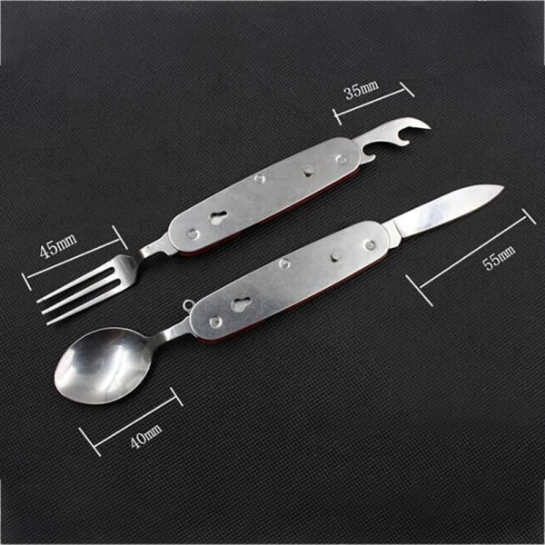 Outdoor  Cutlery Camping Utensils Stainless Steel Folding  Kits Red