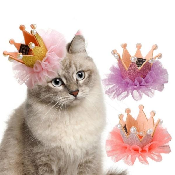 Sällskapsdjur Hundar Crown snörda hårnål Födelsedag Grooming huvudbonad