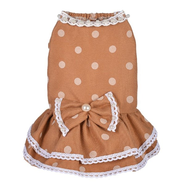Pet Dress Pearl Knit Skirt Clothing Spring Summer Print Skirt Orange Extra small