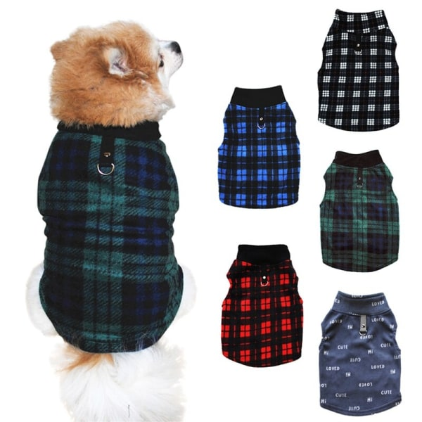 Pet Winter Fashion Ärmlös kostym Polar Fleece Check Vest