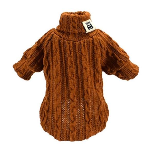 Pet Winter Warm Stickade kläder Hund katt Turtleneck tröja