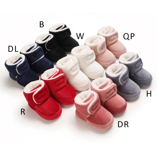 Winter Baby plus velvet warm toddler shoes non-slip soft sole White 0-6Months