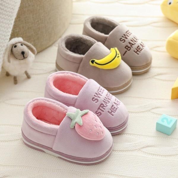 Winter Children Cartoon Cat Home Slippers Warm Flip Flop Shoes Pink 20cm