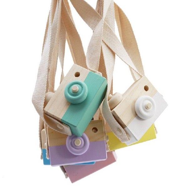 Handgjorda leksaker för träkamera Dekorativa ornament för barn