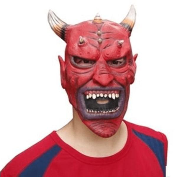 Maskerad djävulmask med horn och öron röd