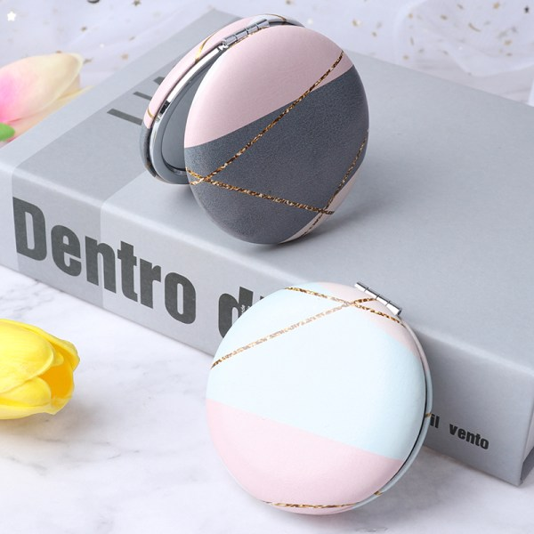 1x bärbar mini-sminkspegel med dubbla vikningar på sidan