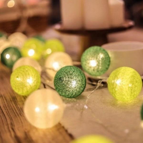 20 led bomullsboll krans sträng ljus bröllop xmas party hem B