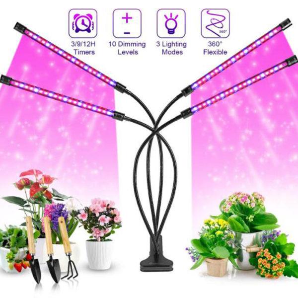 4 huvud ledde växa ljus uv växande lampa full spektrum inomhus växt