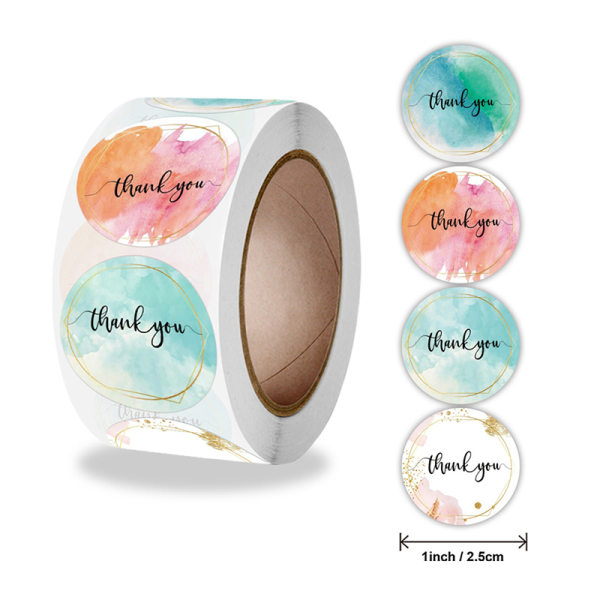 500st blommig färg tack klistermärken självhäftande förseglingsetiketter busi one size