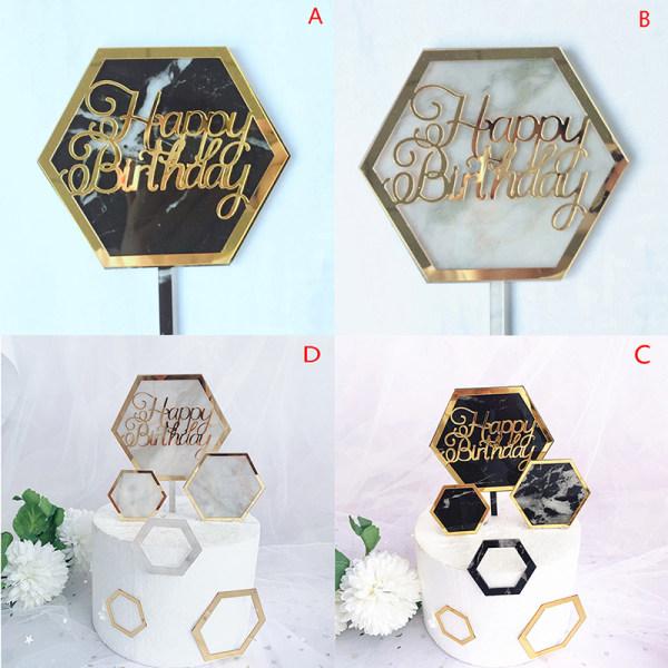 akryl kaka topper hexagon guld grattis på födelsedagen kaka topper för