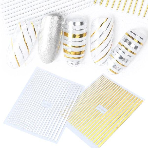 DIY enkla bronzing linjer geometriska guld silver linjer nagel dekor Silver 1