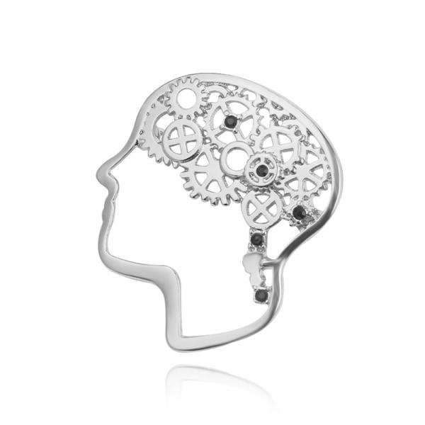 vintage hjärnform broscher krage emblem corsage dekorativ stift