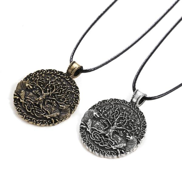 vintage mens varg djur huvud hänge halsband viking amulett gi